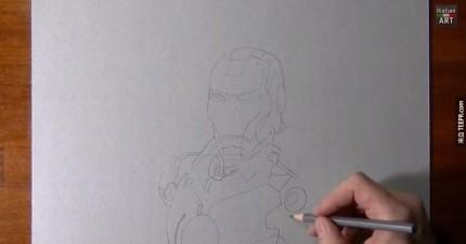 這個人剛開始畫的時候你一定會不以為然。但是當他開始畫頭的時候,你就會知道厲害了。