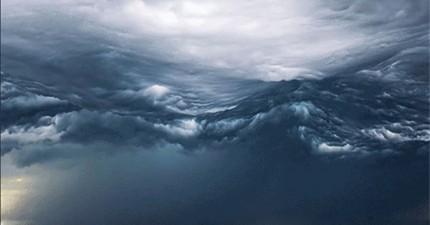 有人拍到我看過最奇怪的天氣現象。這是雲還是海?
