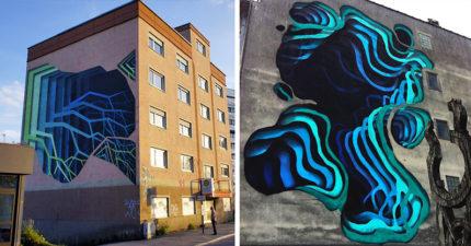 10張被街頭藝術家「變成穿越時空蟲洞」的巨型3D畫作。