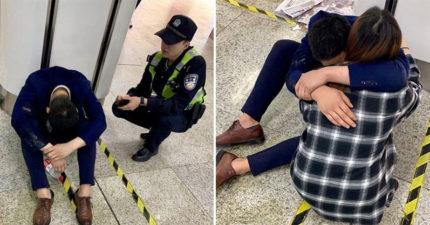 西裝男應酬完在地鐵爆哭「生活過得好難」 老婆趕到現場「先擁抱」讓警察也鼻酸
