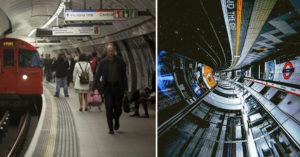 攝影師把「地鐵站翻轉」效果超震撼 車站「竟變成太空艙」車廂的照片更驚人!