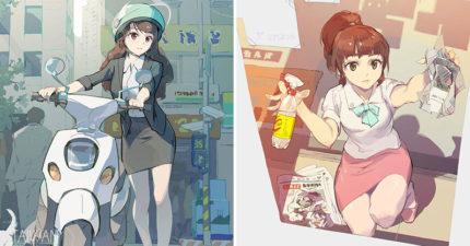 插畫師繪出「台灣OL日常」超唯美畫風被讚爆 國外網友看「擦玻璃瞬間」大驚:哪裡怪怪的…