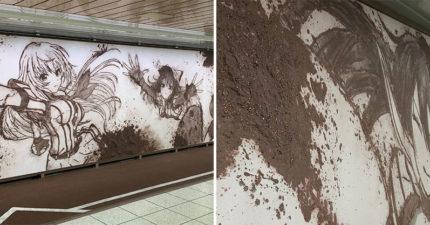 地鐵出現超精緻廣告看板...仔細看好像有點怪 一摸才發現「全是泥土做的」!