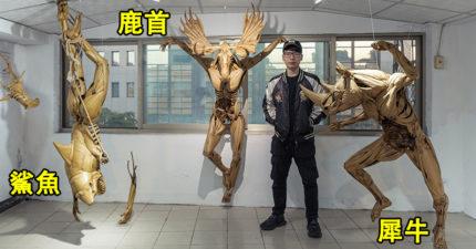 摺紙達人鍾凱翔打造「剝奪系列」作品 「動物+人體」太寫實讓全球震撼!