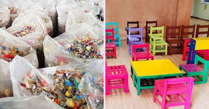 菲律賓推「把垃圾變椅子」環保計劃 塑膠「被切碎重生」可以幫到170萬個學生!
