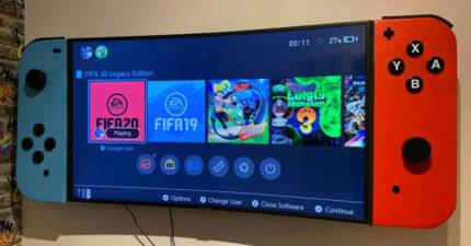 為了寵兒子…暖爸把「電視螢幕→巨型Switch」 手把打開還有驚喜!
