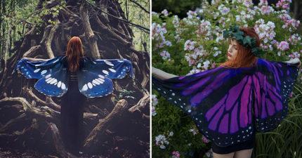 設計師打造「唯美蝴蝶斗篷」 張開手「耀眼展翅」美到像電影特效❤