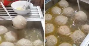 網瘋傳「吃一顆就飽」的巨無霸貢丸 放到碗裡完全看不到麵...