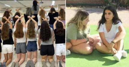 女學生因「穿短褲」被禁入校園 氣到下跪抗議...議員聲援:佩服她們勇氣!