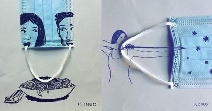 藝術家「用口罩創作」讓你深思的插畫 海浪捲起的...不再是浪花