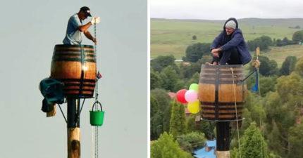 他住25公尺高桶「極限生活78天」 打敗自己破世界紀錄