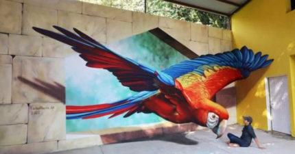 把你變成畫的一部份 超狂3D街頭藝術「直接打破牆壁」通往現實!