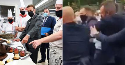 影/法國總統下鄉視察 熱情握手遭民眾「呼巴掌」怒罵:下台!