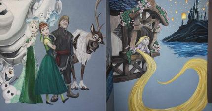 老爸為女兒打造「迪士尼壁畫」 把「小美人魚和史迪奇」完美結合被讚爆!