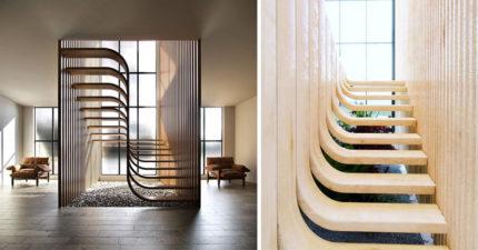 設計師做出「DNA階梯」!側面看「無接縫設計」漂浮在空中