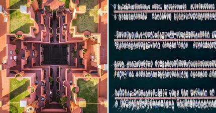 攝影師空拍「最完美街景」 公寓整排「切齊海岸線」太療癒❤