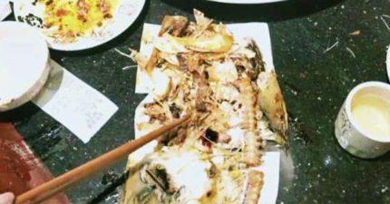 大媽吃魚「拼出整條魚骨」驚覺不對報警...但已吃光整條