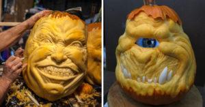 藝術家「南瓜雕刻」創出新境界 反差萌「海綿寶寶」卻嚇哭小孩